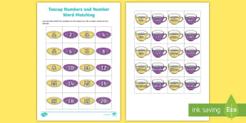 KS1 Teacup Numbers and Number Words Match Up Worksheet - world maths day, fairy tales, traditional Tales, numerals and words, numbers to 20