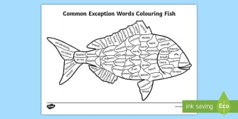 Year 3 and 4 Common Exception Words Colouring Fish Activity Sheet -  - Year 2 Common Exception Words Colouring Butterfly - reward, award, spelling, reading, writing, liter