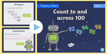 Year 1 Count to and across 100 Maths Mastery PowerPoint - fluency, reasoning, problem solving, number talks, mastery, singapore, shanghai, deeper learning,con