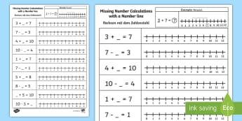 Missing Number Calculations with a Number Line Activity Sheet English/German - addition, subtraciton, plus, minus, EAL, German, English-German,,German-translation