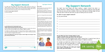 My Support Network Activity Sheet - relationships, friendships, young people, families, empathy, confidence, feelings, transition, works