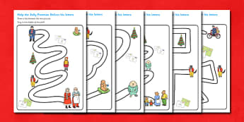 Pencil Control Path Activity Sheets to Support Teaching on The Jolly Christmas Postman - the jolly christmas postman, pencil control, pencil control worksheets, fine motor skills