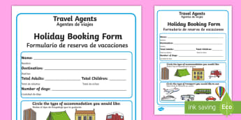 * NEW * Travel Agents Booking Form - English / Spanish - Travel Agents Booking Form - Travel agent, holiday, travel, role play, display poster, poster, sign,