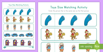 Toys Size Matching Worksheet / Activity Sheet - Visual Discrimination, Toy Unit, Math, Pre-K Worksheet / Activity Sheet, Preschool Worksheet / Activity Sheet