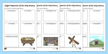 Mysteries of the Holy Rosary Activity Pack - mary, Joyful, sorrowful, glorious, luminous, praying the rosary