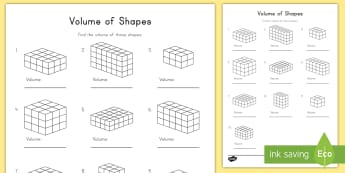 Volume of Shapes Activity Sheet - volume, shapes, cubes, rectangular prisms, cubic, length, width, height