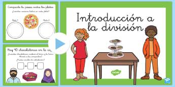 Introducción a la división 2º EP Presentación - división, dividir, powerpoint,Spanish
