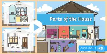 PowerPoint avec audio : Les pièces de la maison - Anglais LV - Langue vivante, vocabulaire, le salon, la salle à manger, cylce 2, cycle 3,French