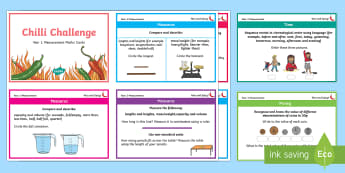 Chilli Challenge Year 1 Measurement Maths Cards - Challenge Cards, KS1, Maths Mats, Length Weight and Height, Time