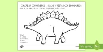 Colorea con números: Sumas y restas 1 10 de los dinosaurios - Dinosaurios, pre-historia, dinos, tiranosaurio, estegosaurio, triceratops, proyectos, aprendizaje ba