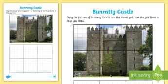 Bunratty Castle Art Activity Sheet - ROI - The World Around UsWAU, worksheet, Irish