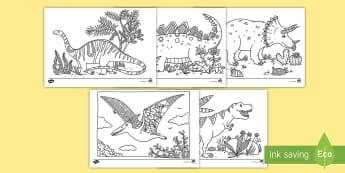* NEW * Dinosaur Themed Mindfulness Colouring Pages - English / Spanish  - EAL, Mindfulness Colouring, colouring, fine motor skills, Spanish-translation