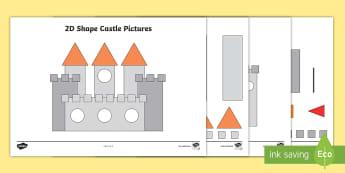 2D Shape Castle Pictures Activity Sheets - Mathematics, Shape, flat shapes, shape pictures, naming shapes, identifying shapes, Worksheets, prop