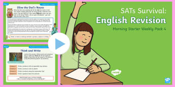 SATs Survival: Year 2 English Revision Morning Starter Weekly PowerPoint Pack 4 - SATs Survival Materials Year 2, SATs, assessment, 2017, English, SPaG, GPS, grammar, punctuation, sp