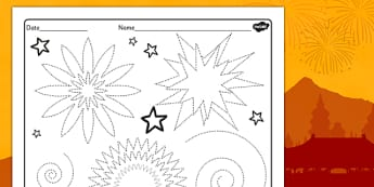 Chinese New Year Firework Sky Pencil Control Worksheet - chinese