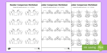 Cinderella Number Comparison Worksheets - cinderella, number