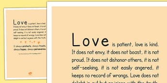 Love is Patient' Bible Scripture Motivational Poster