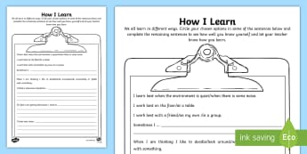 Y4 How I Learn Activity Sheet - back to school, new school year, KS2, learning style, all about me, worksheet
