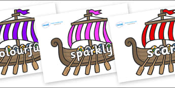 Wow Words on Viking Longboats - Wow words, adjectives, VCOP, describing, Wow, display, poster, wow display, tasty, scary, ugly, beautiful, colourful sharp, bouncy