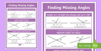 Finding Missing Angles Display Poster - angle sum, straight line, diagonal lines, year 6, vertically opposite