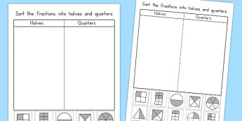Halves and Quarters Sorting Worksheet / Activity Sheet - australia, halves, quarters, sorting, worksheet