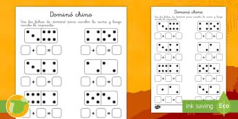 Ficha para sumar: Dominó chino - Año nuevo chino, año nuevo, china, chinos, suma, dominó, dominós, domino, juegos, juego de suma,