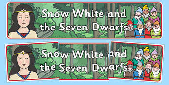 Snow White and the Seven Dwarfs Display Banner - Snow White and the Seven Dwarfs, Snow White, Dwarfs, Seven Dwarfs, traditional tale, display, banner, sign, poster, tale, magic mirror, the queen, prince, forest, old hag, poisoned apple, kiss, asleep
