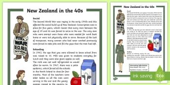 New Zealand in the 40s Fact Sheet - New Zealand, fact sheet, 40s, decades, reading, social studies, Aotearoa, world war 2