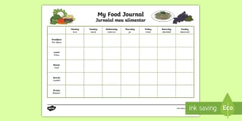 My Healthy Eating Food Journal English/Romanian - diet, healthy living, eat, eating, food diary, EAL, translation