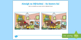 Spot the Differences in the Sitting Room Activity Sheet Gaeilge - Sa Bhaile, Spot the Differences, Seomra Suí, Gaeilge.,Irish