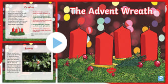 KS2 Advent Wreath Information PowerPoint - christmas, christian traditions, pagan traditions, celebrations and traditions, christian symbols
