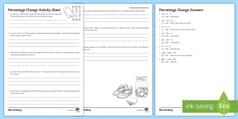 Percentage Change Activity Sheet - KS3, Foundation, KS4, Multiply, Percent, Word problems, questions, worksheet