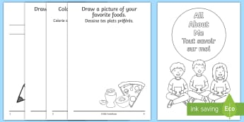 All About Me Activity Booklet English/French - transition, Beginning  First, Day, EAL, translation