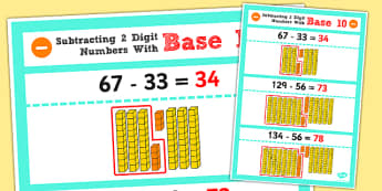 Subtracting 2 2-Digit Numbers and Tens Using Base 10 Display Poster - place value, stage 6, advanced additive, nz maths, numeracy project