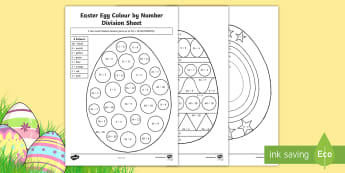 Year 4 Easter Egg Division Colour by Number - Australia Easter Maths, Easter, Australia, mathematics, year 4, division, divide, division colour by