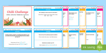 Chilli Challenge Year 5 Calculations Challenge Cards - Addition, Subtraction, Multiplication, Division, Operation