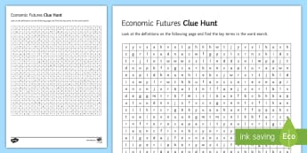 Economic Futures Clue Hunt Activity Sheet - key, terms, glossary, word, search, ks4, gcse