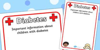 Pupil Diabetes Information Poster - diabetes, allergy, allergy information, allergies, pupil information, pupils, poster, sign, sheet, display