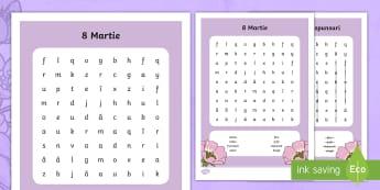 8 Martie Vânătoare de cuvinte - Spring, primăvară, Ziua Mamei, mama, ziua, 8, 8 Martie, sărbătoare, resurse, materiale, fișă d