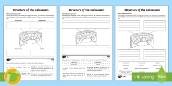 The Colosseum Differentiated Activity Sheet - worksheet, Romanos, Ancient Romans, Arquitectura, Architecture, Ancient History, Imperio Romano, Rom