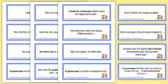 Home, Town, Neighbourhood and Region Prompt Cards French - Conversation, Speaking, House, Maison, Ville, Village, Cartes