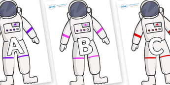 A-Z Alphabet on Astronaut - A-Z, A4, display, Alphabet frieze, Display letters, Letter posters, A-Z letters, Alphabet flashcards