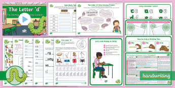 The Journey to Continuous Cursive: The Letter 'd' (Curly Caterpillar Family Help Card 3) KS1 Activity Pack - Nelson handwriting, penpals, fluent, joined, legible, handwriting