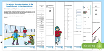 KS1 The Winter Olympics Mystery of the Speed Skaters' Skates Maths Game - mystery games, maths games, y1 and y2, problem solving, calculations