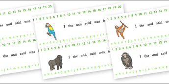 Combined Alphabet and Number Strips (Jungle & Rainforest) - Jungle, Rainforest, Alphabet, Numbers, Writing aid, vines, snake, forest, ecosystem, rain, humid, parrot, monkey, gorilla