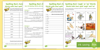 Year 3 and 4 Spelling at Home: /aw/ Sound Spelt \'augh\' and \'au\' Spelling Pack - Support with KS2 spellings, /aw/ spelt augh and au, /aw/, augh, au, KS2, Year 3, Year 4, Y3, Y4, SPa