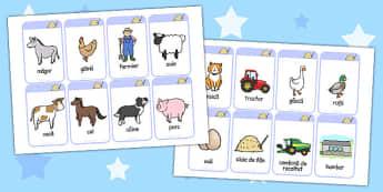 La fermă - Cartonașe cu imagini și cuvinte