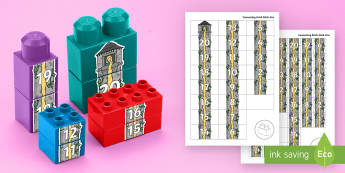 Number Tower to 20 Connecting Bricks Game - EYFS, Early Years, KS1, Connecting Bricks Resources, Duplo, Lego, Plastic Bricks, Building Bricks, M