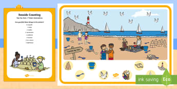 Seaside Counting Can You Find...? Poster and Prompt Card Pack - i spy, discover, hunt, find, seaside, beach, sea, ocean, summer
