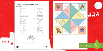 Christmas Fortune Teller Activity Spanish - Christmas, vocabulary, reading, Pronunciation, game
